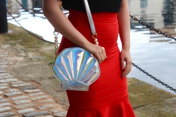 Metallic mermaid shell bag